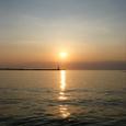 海 夕日 灯台